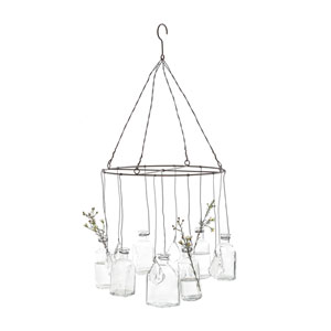 Wire Hanging Glass Vases with Crystals
