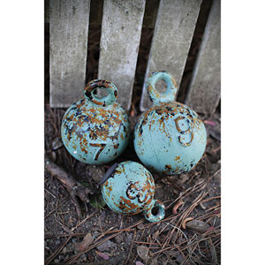 Distressed Aqua Resin Weights, Set of Three