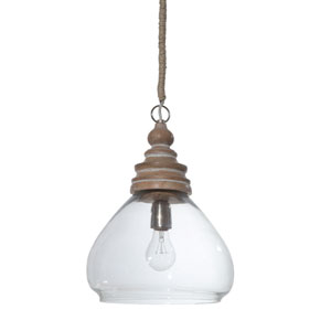 Clear Glass and Mango Wood Ceiling Pendant Lamp