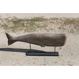 Hand Carved Mango Wood Whale on Stand