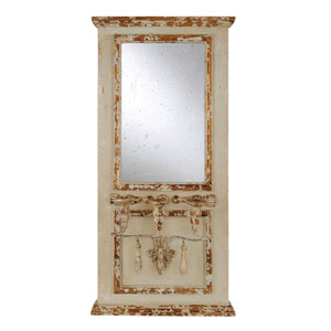 Rectangular Cream and Brown Wood Framed Mirror with Three Taper Holders