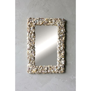 Rectangular Wood and Oyster Shell Mirror