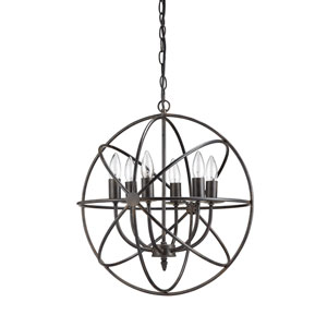 Round Six-Light Metal Chandelier
