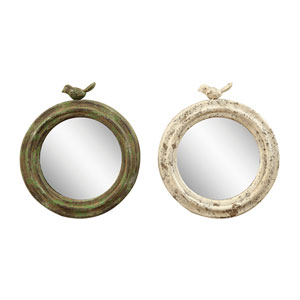 Round Metal Framed Mirror with Bird, Set of Two