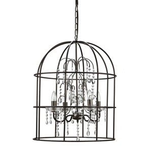 Metal Birdcage Four-Light Chandelier with Crystals