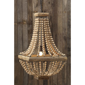 Brown Metal Chandelier with Wood Beads