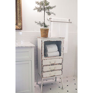 Distressed White Metal Cabinet with Three-Drawers