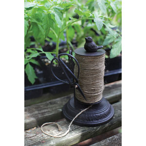 Cast Iron String Holder with Scissors and Jute