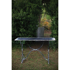 Distressed Black and White Metal Table