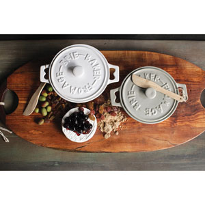 Round Brie Baker with Wood Spreader, Set of Two