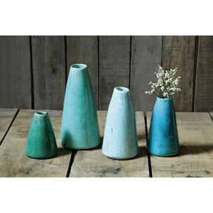 Assorted Blue Terracotta Vases, Set of Four