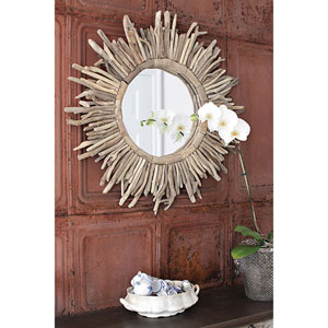 Natural Round Driftwood Sunburst Mirror