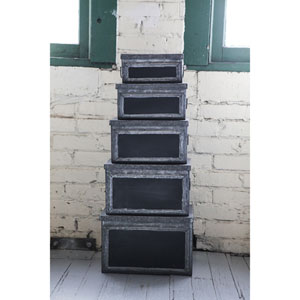 Metal Bins with Chalkboard Fronts