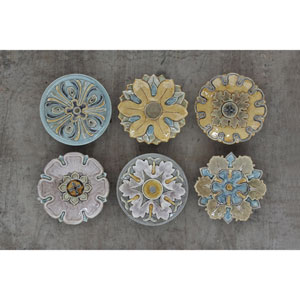 Round 11 In. Terracotta Wall Plate, Set of Six