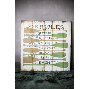 Lake Rules Square Wall Décor
