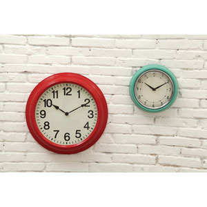 Red 16 In. Round Metal Wall Clock