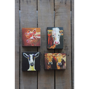 Block with Cow Image, Set of Two