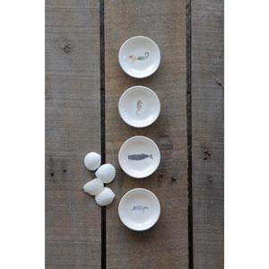 Round Ceramic Dish with Sea Life Image, Set of Four