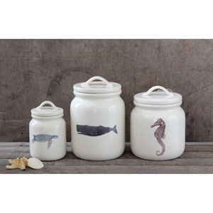 Sea Horse White Ceramic Canister with Lid