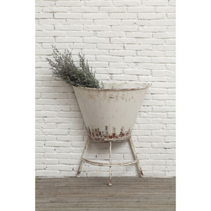 White Metal Half Wall Planter on Stand