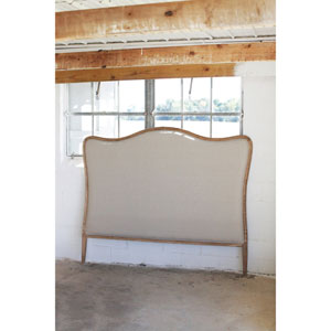 Oak and Linen King Headboard