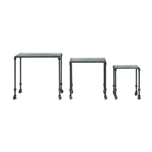 Black Distressed Metal Nesting Tables on Casters
