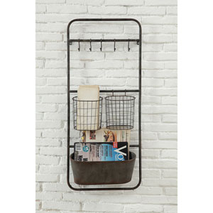 Rust Metal Shelf with Five Hooks and Two Baskets