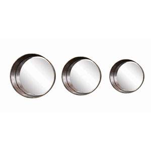 Round Metal Framed Mirrors, Set of Three
