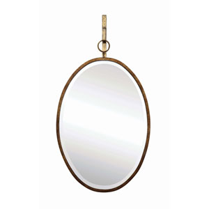 Bronze Oval Metal Framed Wall Mirror with Bracket