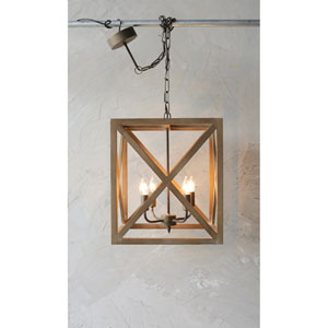Metal and Wood Four-Light Chandelier