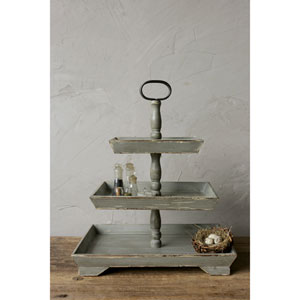 Gray Decorative Wood Three-Tier Tray