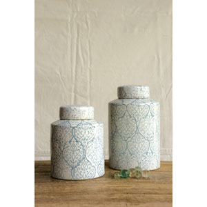 Tall White and Blue Ceramic Ginger Jar