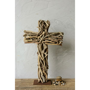 Driftwood Cross with Wood Base