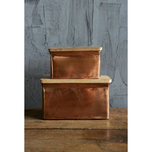 Copper Iron Boxes with Wood Lid