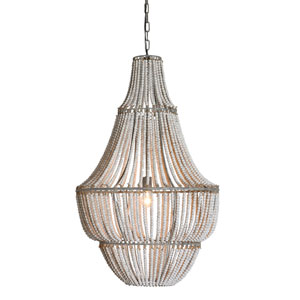 White Wash One-Light Metal and Wood Bead Chandelier