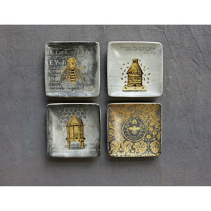 Square 4 In. Bee Plates, Set of Four