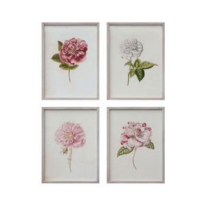Wood Vintage Wall Décor with Flower Image, Set of Four