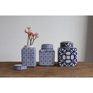 Medium Blue and White Ceramic Ginger Jar with Lid