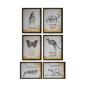 Animals and Sayings Wall Décor, Set of Six