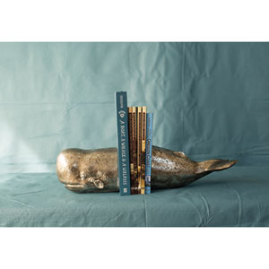 Antique Silver Leaf Whale Bookend, Set of Two