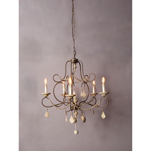 Iron Wood and Crystal Beads Five-Light Chandelier