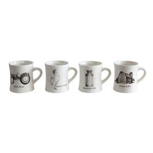Farm Decal Ceramic Mugs, Set of Four