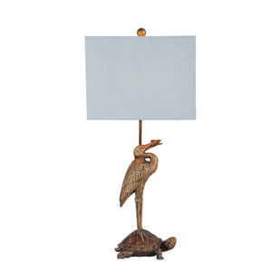 Gold and Bronze Stork with Turtle Table Lamp