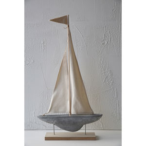 Cement Boat Decoration with Stand