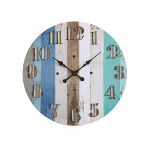 Blue and White 30 In. Round Wall Clock