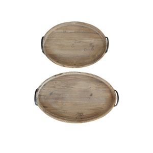 Decorative Wood Trays with Metal Handles, Set of Two