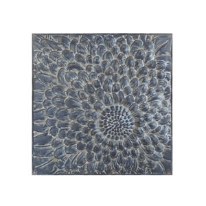 Embossed Metal Square Flower Wall Decor