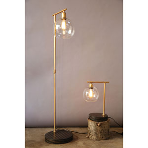 Gold and Bronze Floor Lamp with Glass Shade
