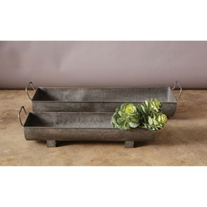 Metal Planters with Handles, Set of Two