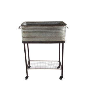Metal Planter on Stand with Casters